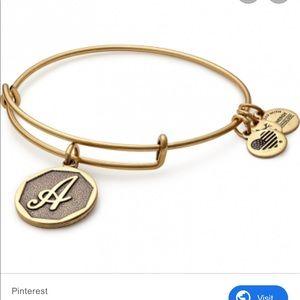"Alex and Ani ""A"" initial bangle bracelet"